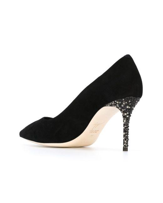 Туфли На Декорированном Каблуке Giuseppe Zanotti Design                                                                                                              чёрный цвет