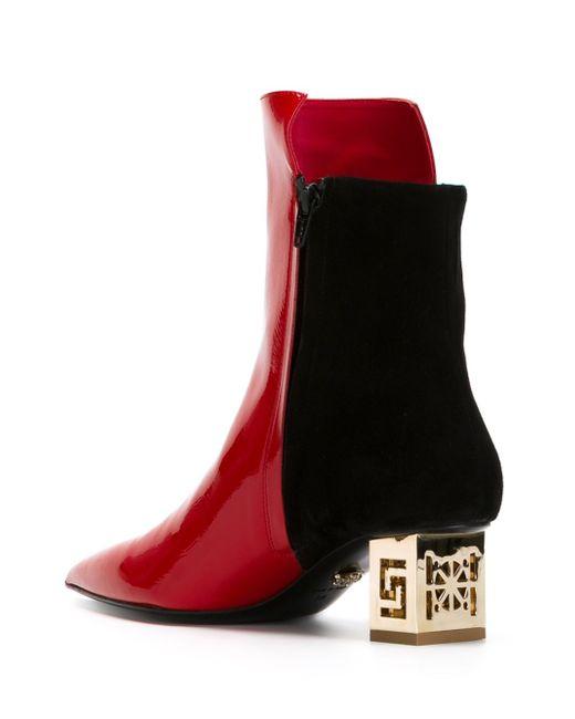 Ботинки На Контрастном Каблуке Greek Versace                                                                                                              красный цвет