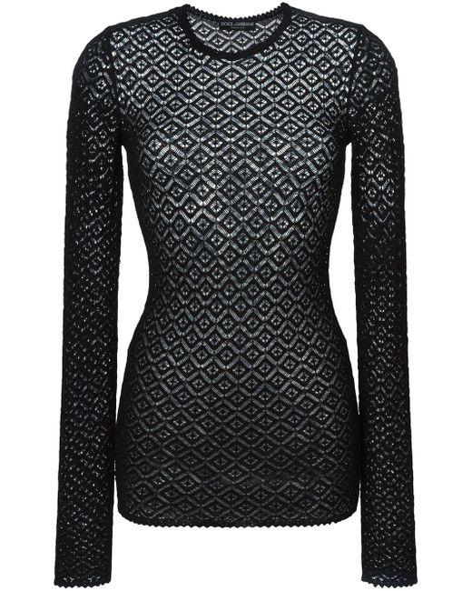 Вязаный Кружевной Свитер Dolce & Gabbana                                                                                                              чёрный цвет
