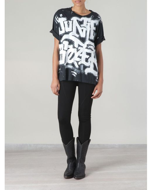 Graffiti Print T-Shirt Faith Connexion                                                                                                              чёрный цвет
