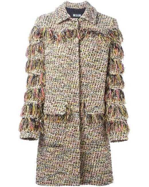 Твидовое Пальто С Бахромой MSGM                                                                                                              многоцветный цвет