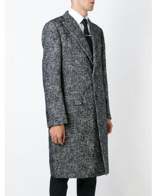 Однобортное Твидовое Пальто Dolce & Gabbana                                                                                                              чёрный цвет