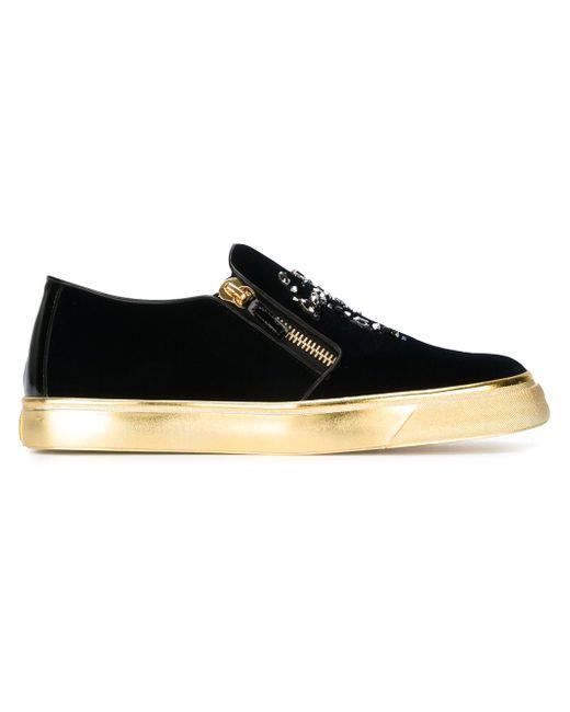 Zip Detail Velvet Sneakers Giuseppe Zanotti Design                                                                                                              синий цвет