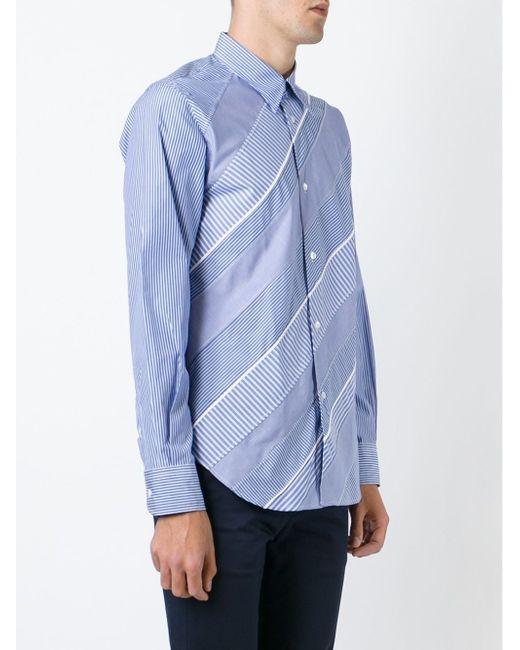 Рубашка С Лоскутным Полосатым Узором JUNYA WATANABE COMME DES GARCONS                                                                                                              синий цвет