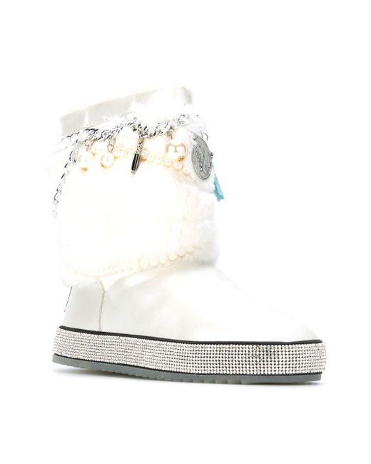 Декорированные Ботинки С Меховой Отделкой GIANNI RENZI                                                                                                              белый цвет
