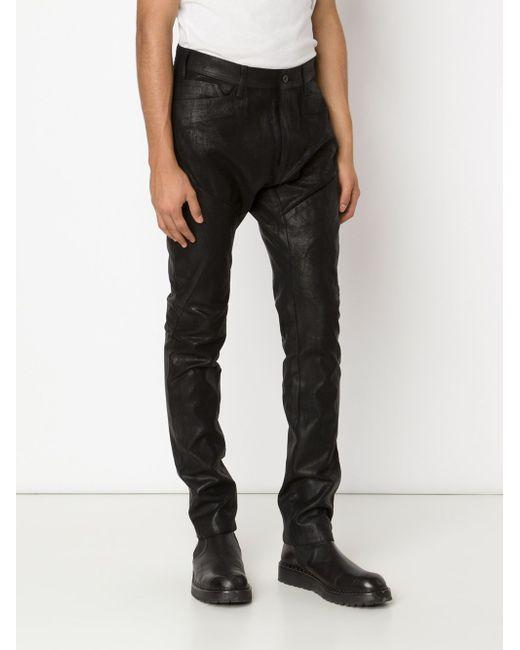 Waxed Effect Paneled Trousers JULIUS                                                                                                              чёрный цвет