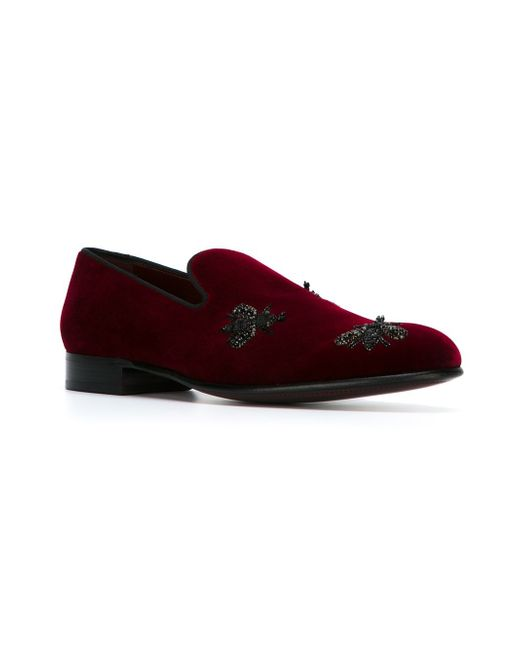 Bee Embroidery Slippers Dolce & Gabbana                                                                                                              красный цвет