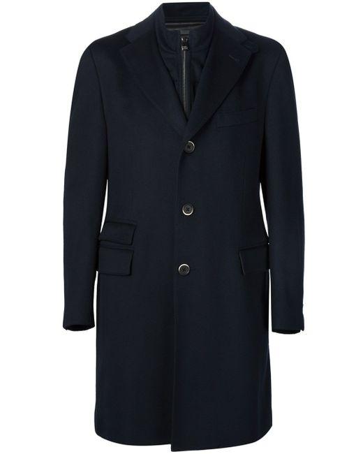 Пальто С Вставкой На Молнии Identity Corneliani                                                                                                              чёрный цвет