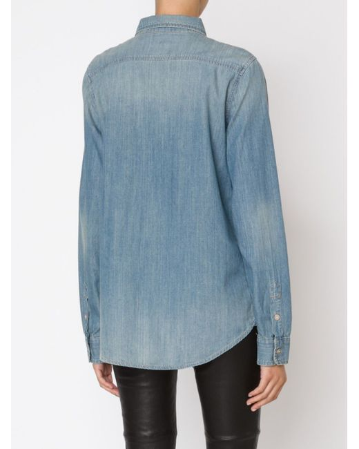 Distressed Denim Shirt Mother                                                                                                              синий цвет
