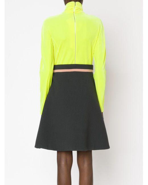 Комбинированное Платье С Высоким Горлом Delpozo                                                                                                              желтый цвет