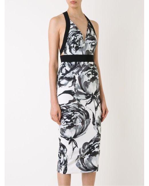 Приталенное Платье С Цветочным Принтом SCANLAN THEODORE                                                                                                              чёрный цвет