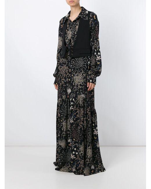 Длинное Платье С Цветочным Принтом Chloe                                                                                                              чёрный цвет
