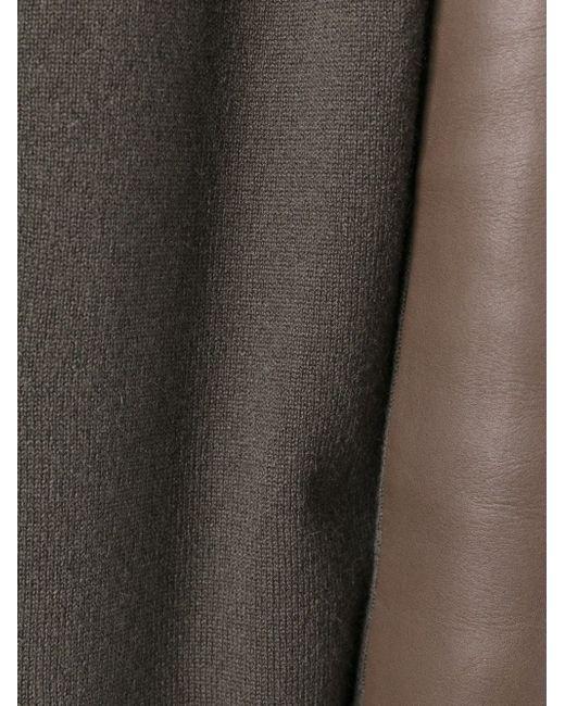 Кардиган С Кожаными Панелями Pringle Of Scotland                                                                                                              коричневый цвет