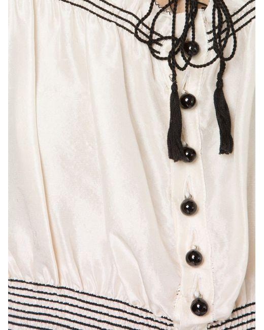 Укороченный Топ В Крестьянском Стиле JEAN PAUL GAULTIER VINTAGE                                                                                                              белый цвет