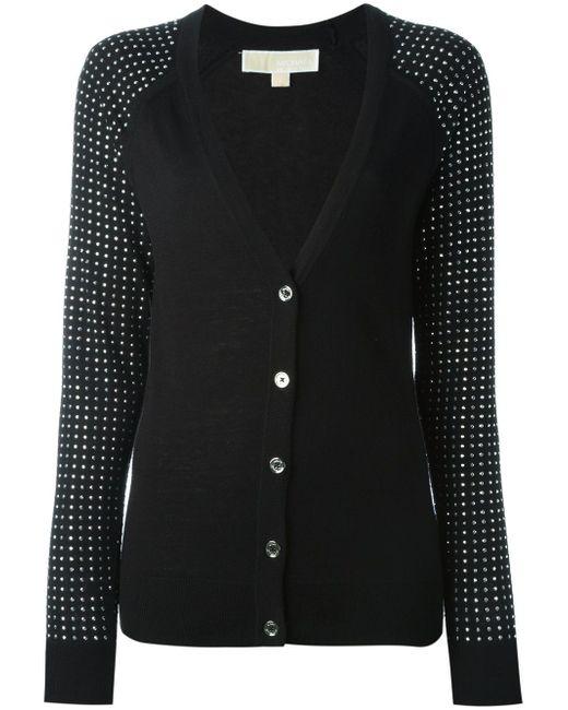 Embellished Sleeves V-Neck Cardigan Michael Michael Kors                                                                                                              чёрный цвет