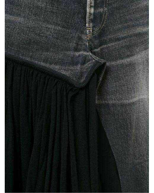 Джинсовая Юбка С Плиссированной Панелью YOHJI YAMAMOTO VINTAGE                                                                                                              чёрный цвет