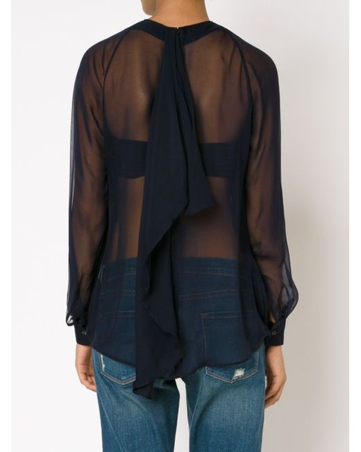Прозрачная Блузка Dsquared2                                                                                                              синий цвет