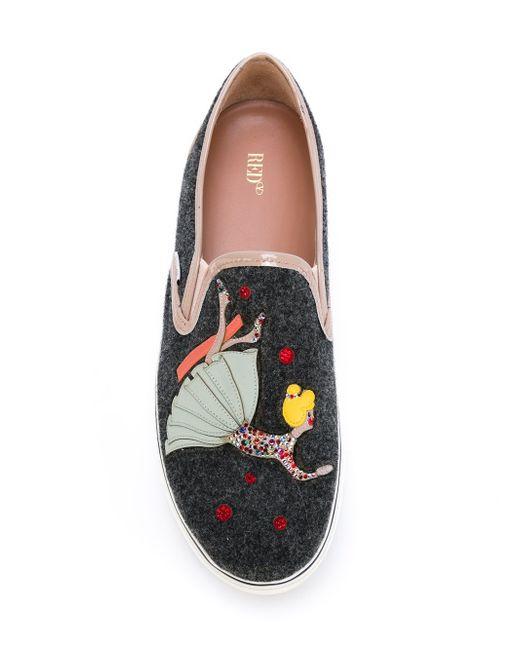 Doll Appliqué Slip-On Sneakers Red Valentino                                                                                                              серый цвет