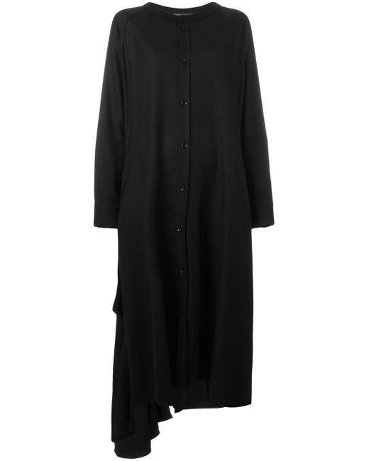Свободное Платье-Рубашка С Оборкой Yohji Yamamoto                                                                                                              чёрный цвет