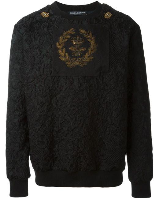 Bee And Crown Embroidered Patch Sweatshirt Dolce & Gabbana                                                                                                              чёрный цвет