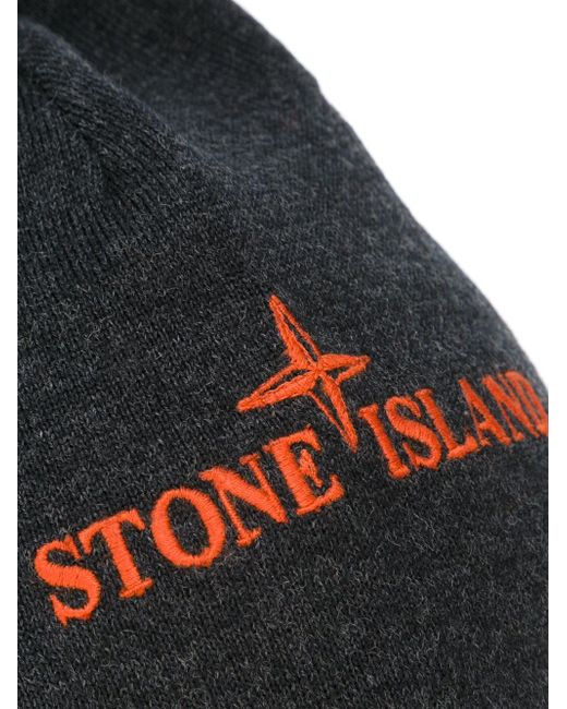 Шапка С Вышитым Логотипом Stone Island                                                                                                              серый цвет