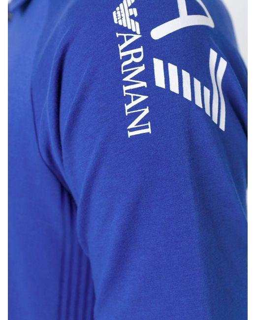 Футболка-Поло С Принтом Логотипа Emporio Armani                                                                                                              синий цвет