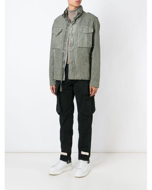 Funnel Neck Military Jacket OFF-WHITE                                                                                                              зелёный цвет