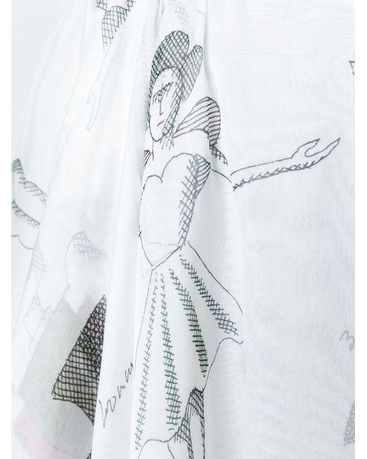 Асимметричная Юбка С Принтом Балерин Olympia Le-Tan                                                                                                              белый цвет
