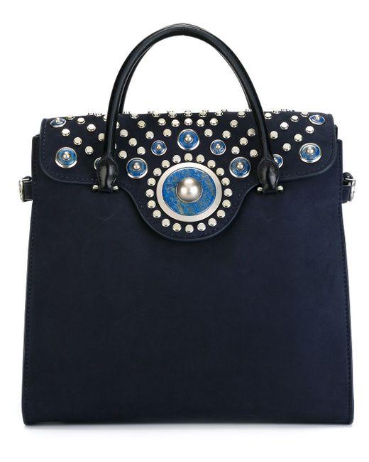 Сумка-Тоут Embellished Carpet Bag Tory Burch                                                                                                              синий цвет