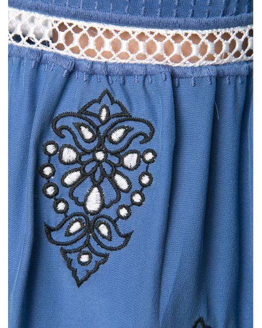 Embroidered Tunic Blouse Veronica Beard                                                                                                              синий цвет