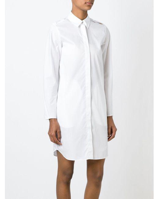 Платье-Рубашка С Разрезами На Плечах MM6 by Maison Margiela                                                                                                              белый цвет