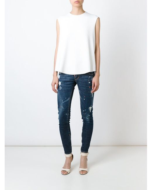 Paint Spattered Jeans Dsquared2                                                                                                              синий цвет