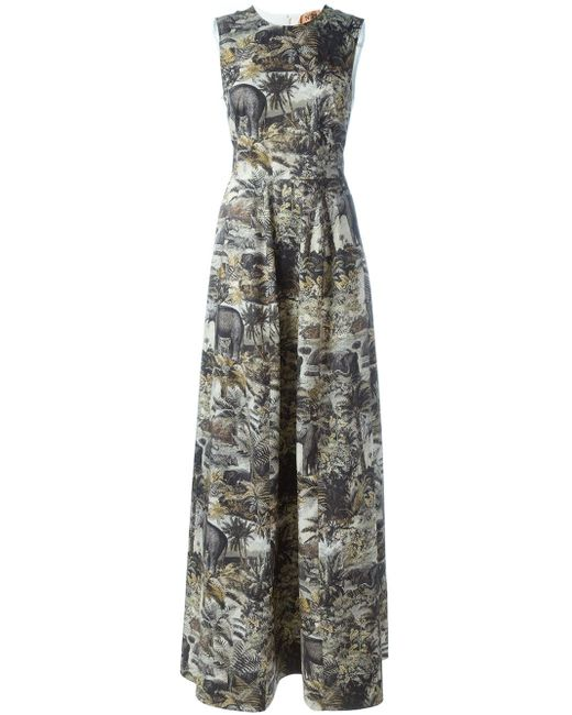 Вечернее Платье С Принтом Джунглей No21                                                                                                              чёрный цвет