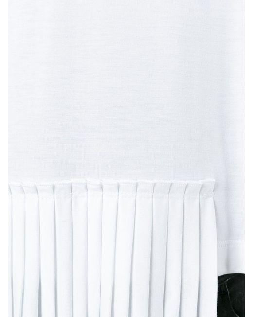 Асимметричная Плиссированная Футболка MM6 by Maison Margiela                                                                                                              белый цвет