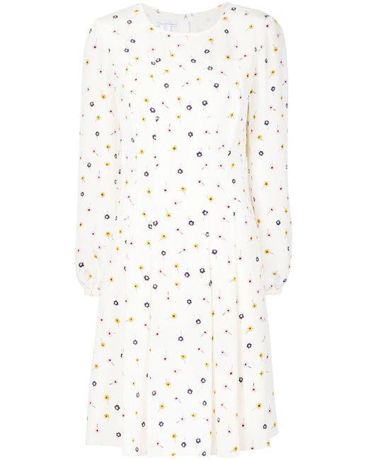Платье С Цветочным Принтом Oscar de la Renta                                                                                                              белый цвет