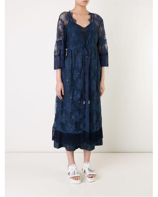 Lace Long Cardigan Muveil                                                                                                              синий цвет