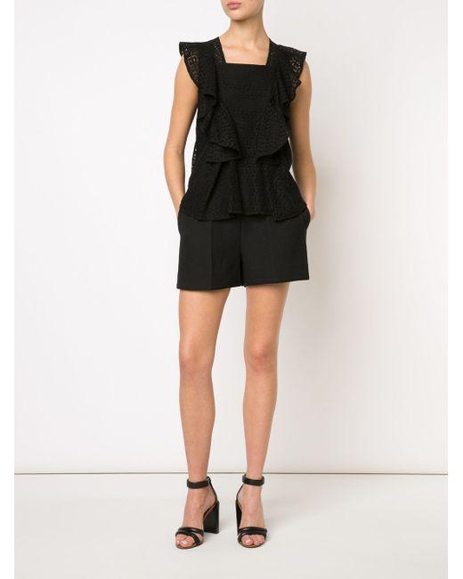Кружевная Блузка С Оборками Rebecca Minkoff                                                                                                              чёрный цвет