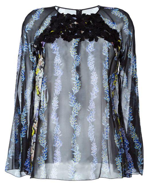 Прозрачная Блузка С Цветочным Принтом GIAMBA                                                                                                              чёрный цвет