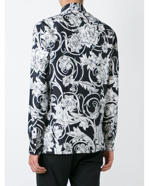 Рубашка С Цветочным Принтом Versace                                                                                                              чёрный цвет