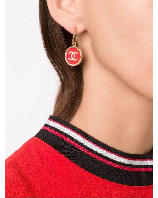 Серьги-Подвески С Логотипом Chanel Vintage                                                                                                              серебристый цвет