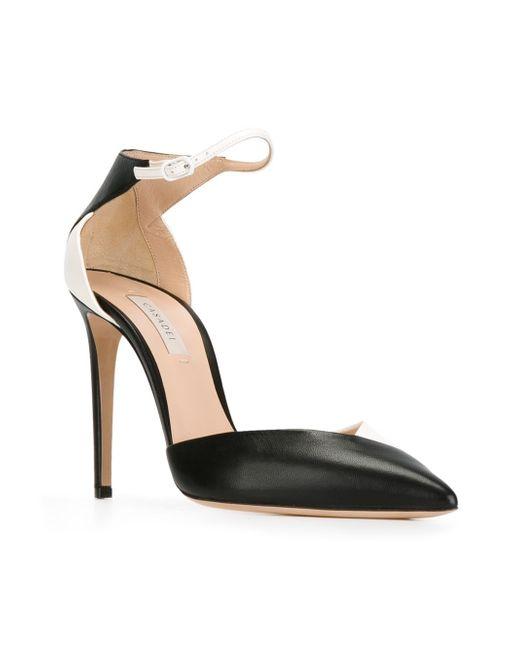 Двухцветные Туфли Casadei                                                                                                              чёрный цвет