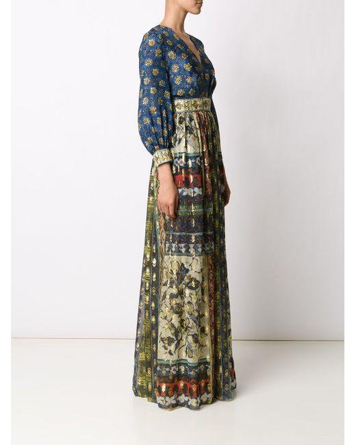 Длинное Платье С V-Образным Вырезом Alberta Ferretti                                                                                                              синий цвет