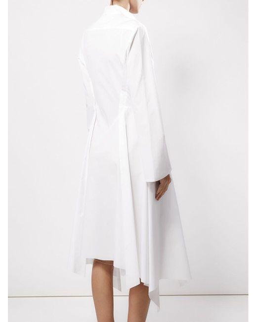 Платье-Рубашка Асимметричного Кроя AGANOVICH                                                                                                              белый цвет