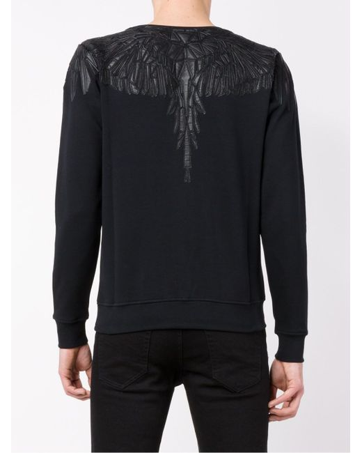 Leather Trimmed Sweatshirt MARCELO BURLON COUNTY OF MILAN                                                                                                              чёрный цвет