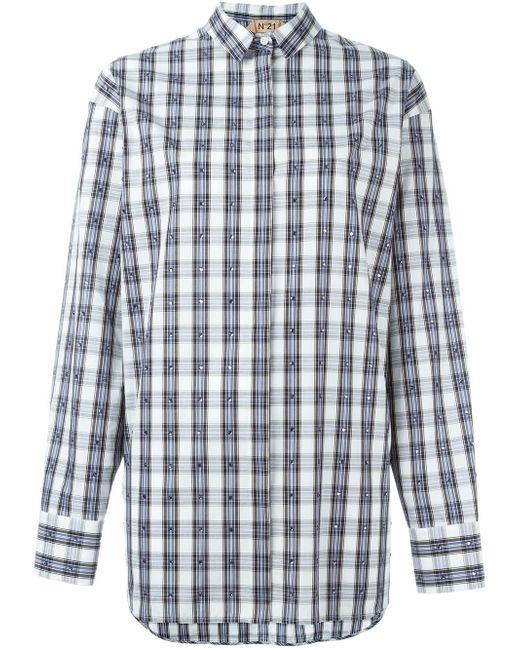 Декорированная Рубашка В Клетку No21                                                                                                              синий цвет