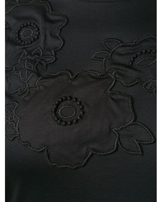 Футболка С Цветочной Аппликацией Carven                                                                                                              чёрный цвет