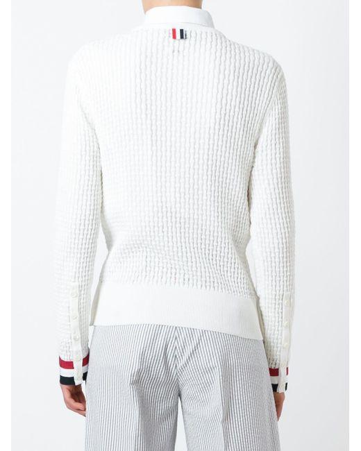 Свитер С Контрастными Манжетами Thom Browne                                                                                                              белый цвет