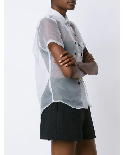 Прозрачная Блузка С Пуговичной Отделкой Comme Des Garcons                                                                                                              белый цвет