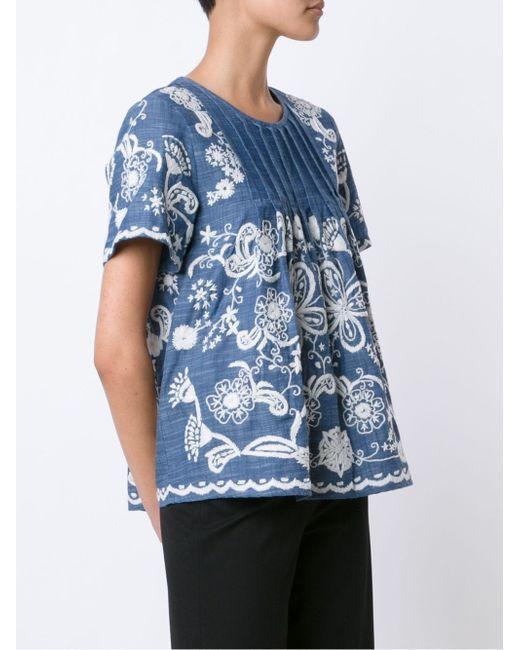 Хлопчатобумажный Топ С Вышивкой Sea                                                                                                              синий цвет
