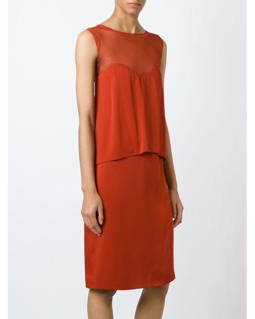 Многослойное Платье Maison Margiela                                                                                                              красный цвет